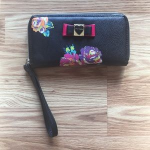 Betsey Johnson Black and Floral Wristlet